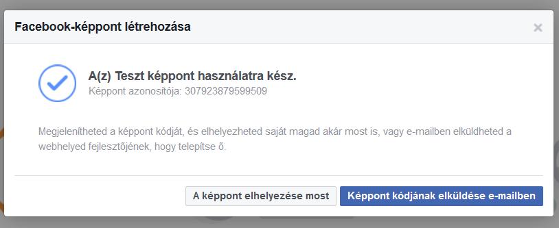 Facebook képpont kódjának generálása