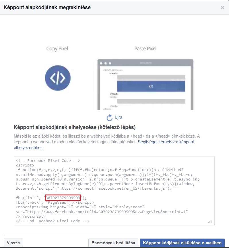 Facebook-képpont kódja
