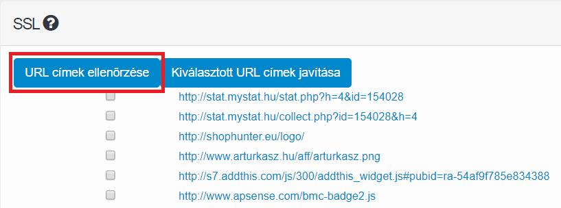 URL címek ellenőrzése