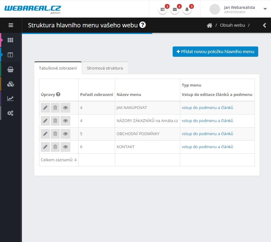 Új adminisztrációs felület - Tablet nézet
