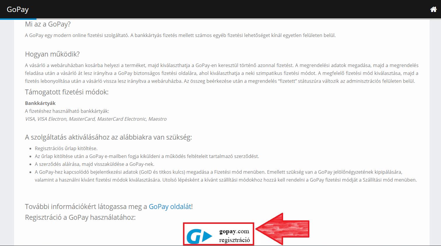 GoPay fiók létrehozása 2.