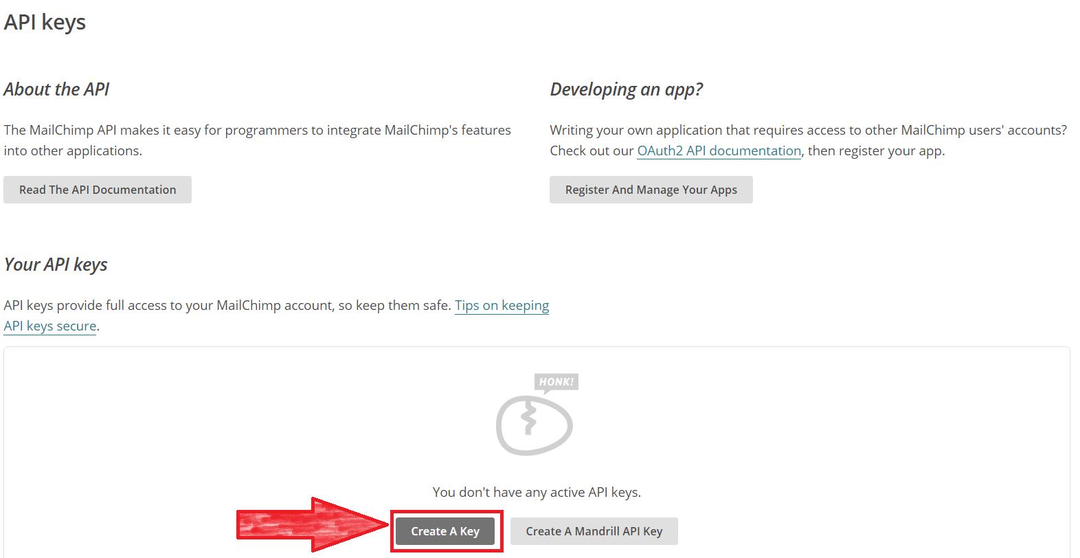 API kulcs létrehozása