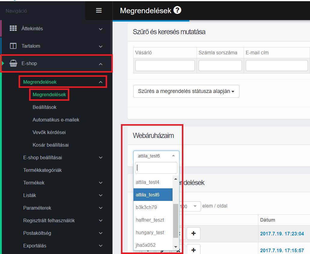 Különböző webshopok megrendelései közötti váltás