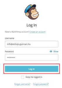 Belépés a MailChimp fiókba