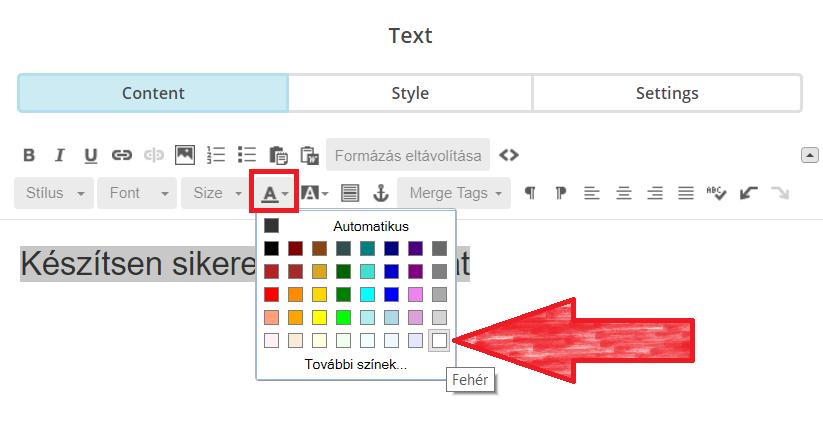 Szöveg színének módosítása