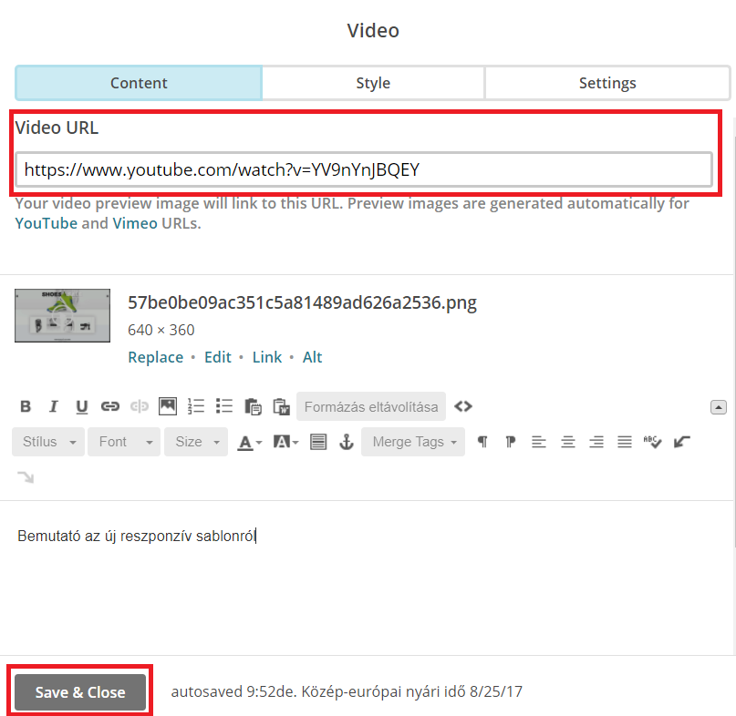 Videó URL címének beillesztése