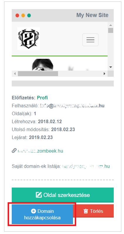 Domain név hozzákapcsolása 2.