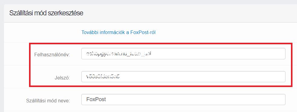 Felhasználói adatok megadása a FoxPost-nál