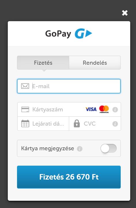 Bankkártyás fizetés a GoPay fizetőkapuján keresztül