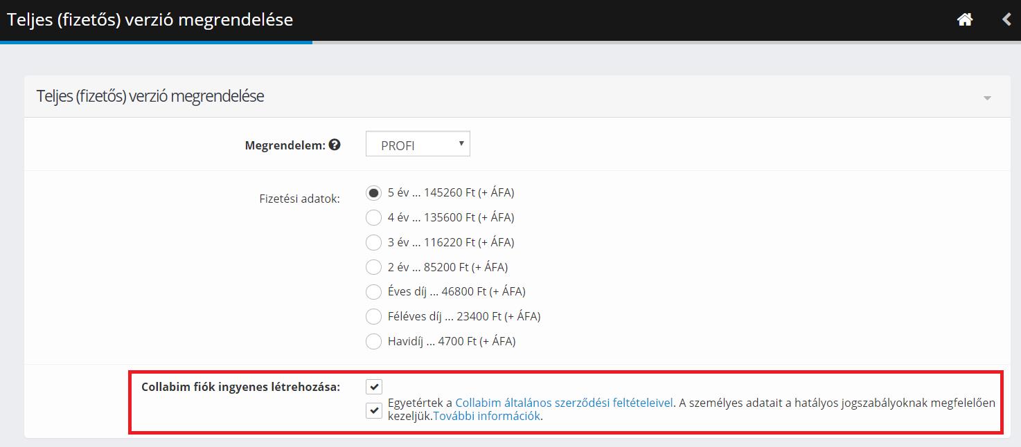Collabim fiók létrehozása a teljes verzió megrendelésekor