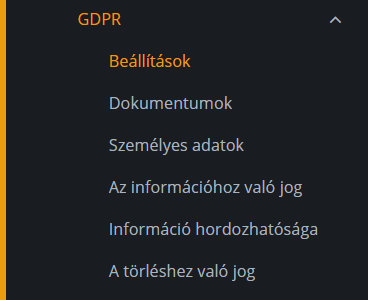 GDPR menüje a GDPR aktiválása után