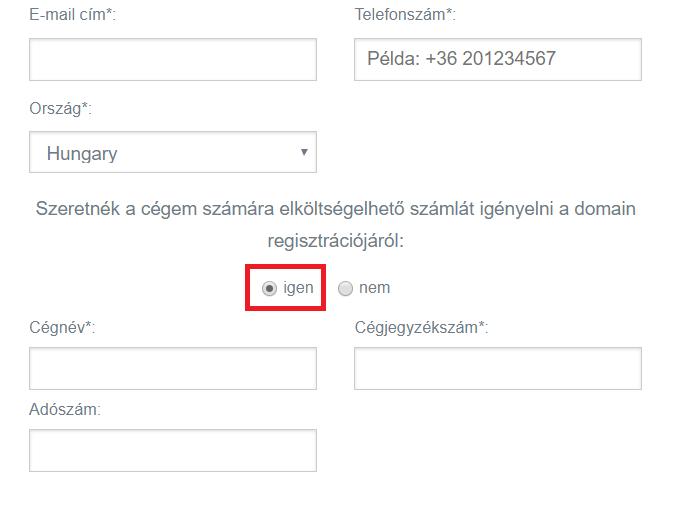 Domain megrendelése céges adatokkal