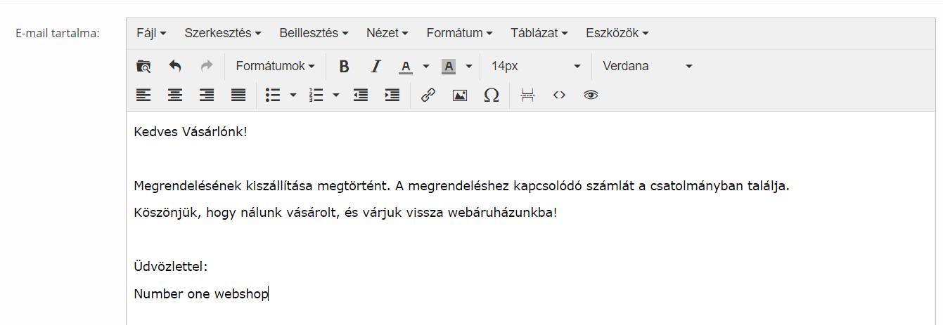 Automatikus e-mail szövegének személyre szabása