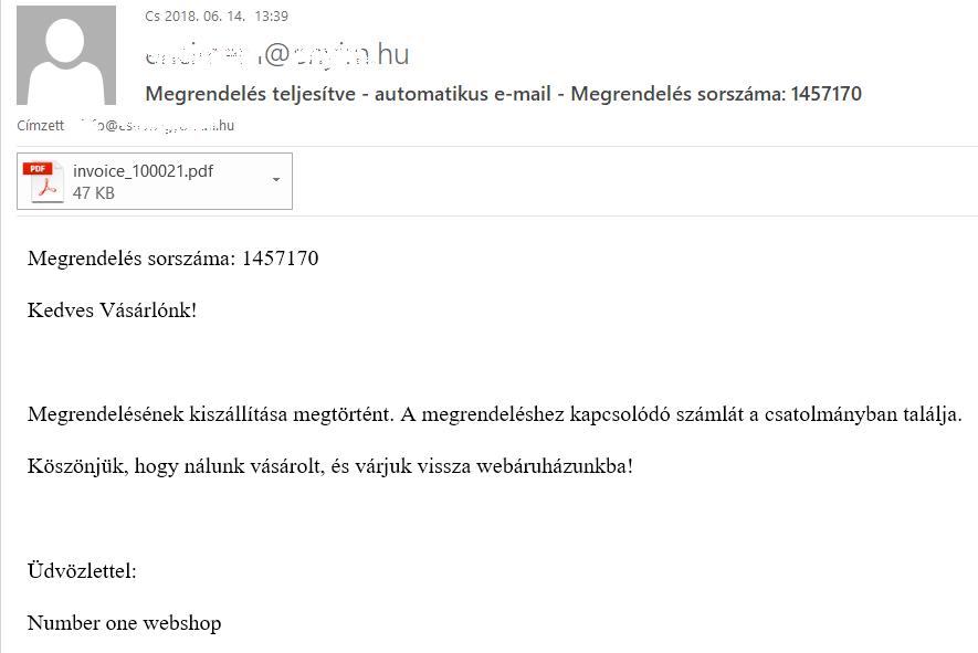 Megrendelési státuszhoz kapcsolódó automatikus e-mail