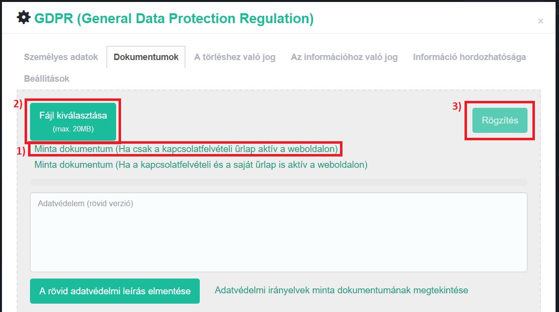 GDPR - Adatvédelmi dokumentum feltöltése