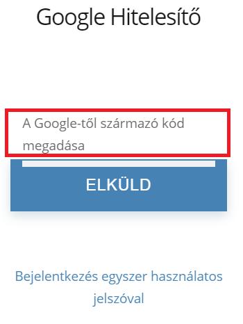 Google Hitelesítő kód megadása