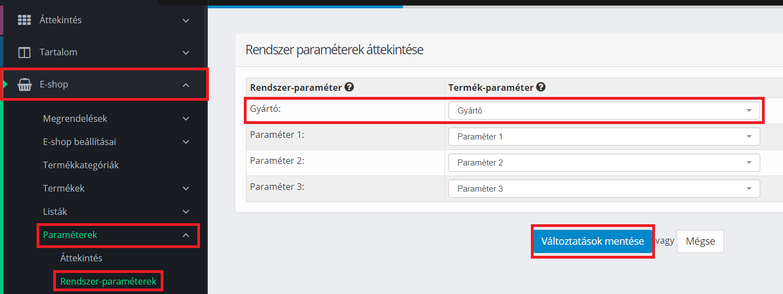 Gyártó paraméterének rendszer-paraméterré állítása