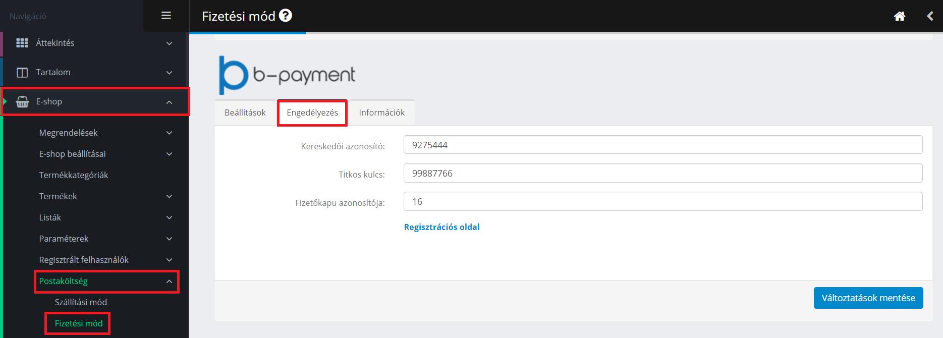 B-payment aktiválása