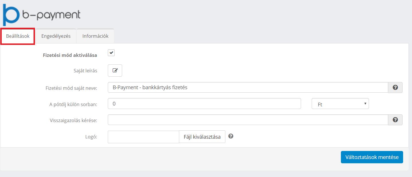 B-payment beállításai