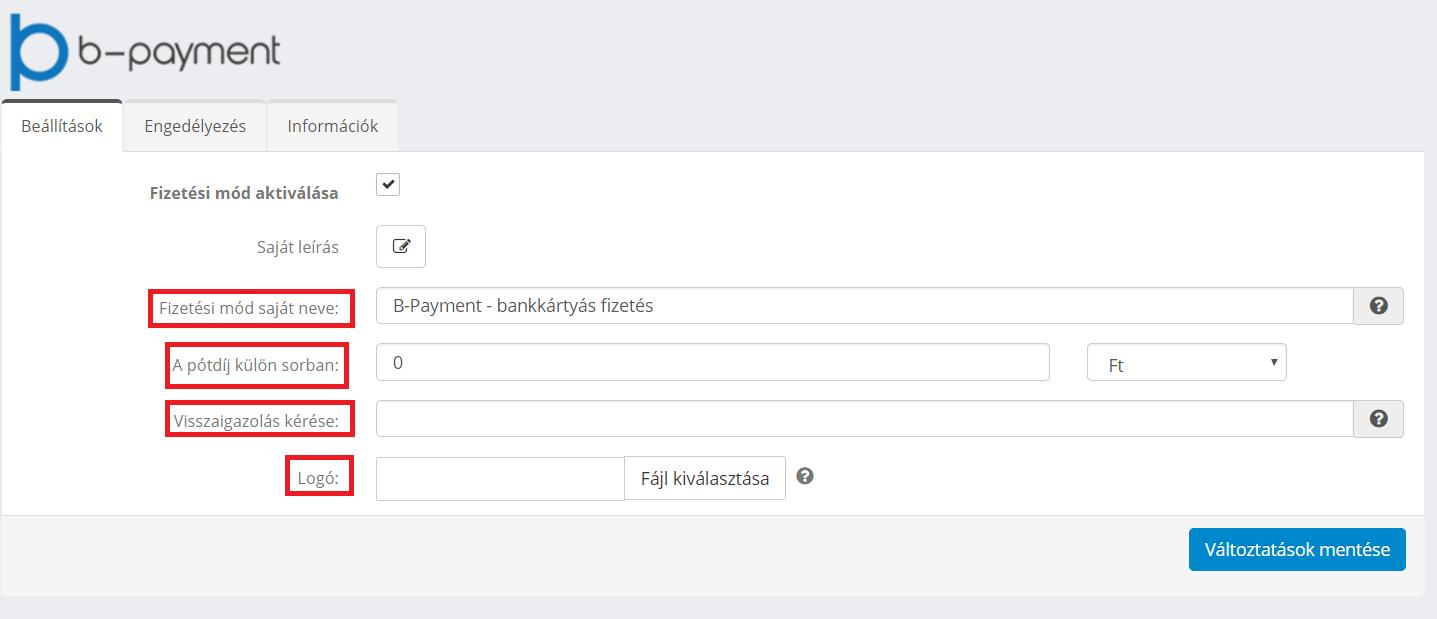 B-payment beállítása - kitöltött adatok