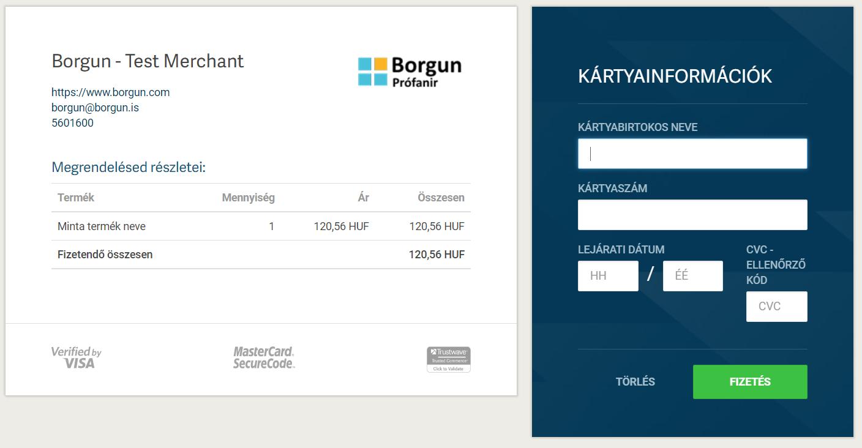 Bankkártya adatok megadása a B-payment oldalán