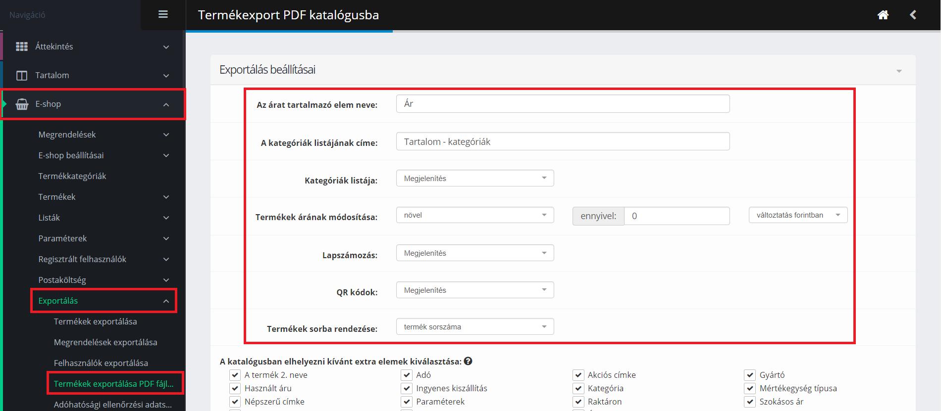 PDF-generálás beállítása