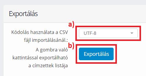 Export fájl generálása
