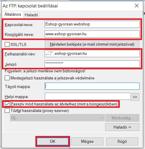 FTP-kapcsolat adatainak megadása