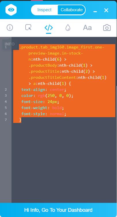 CSS kód kimásolása