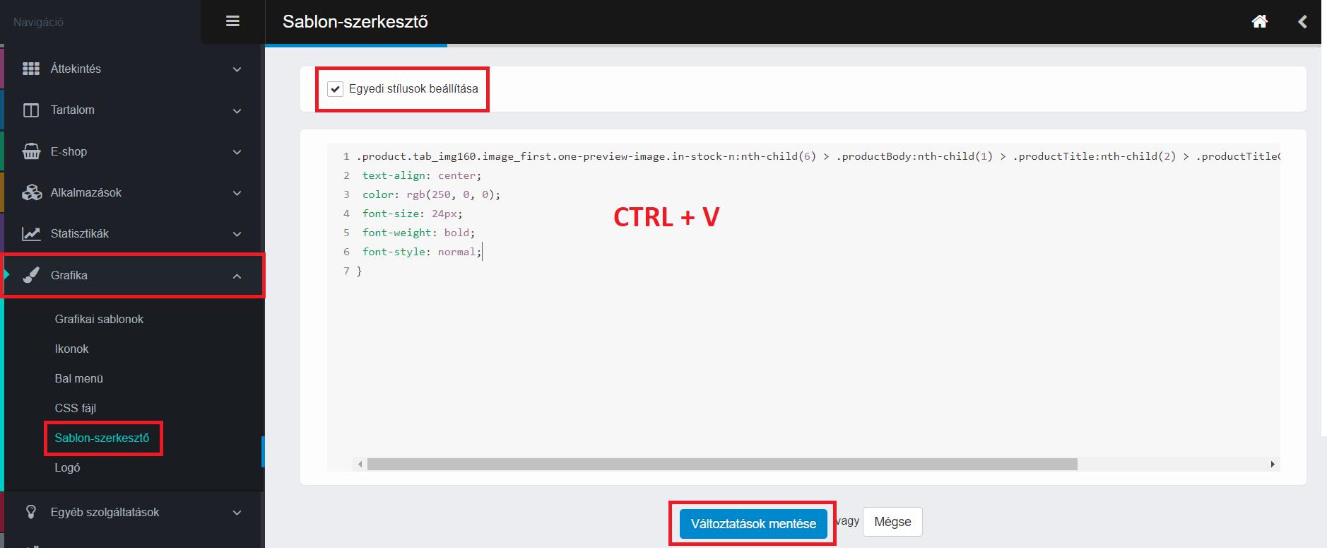 CSS kód beillesztése az adminisztrációs felületre