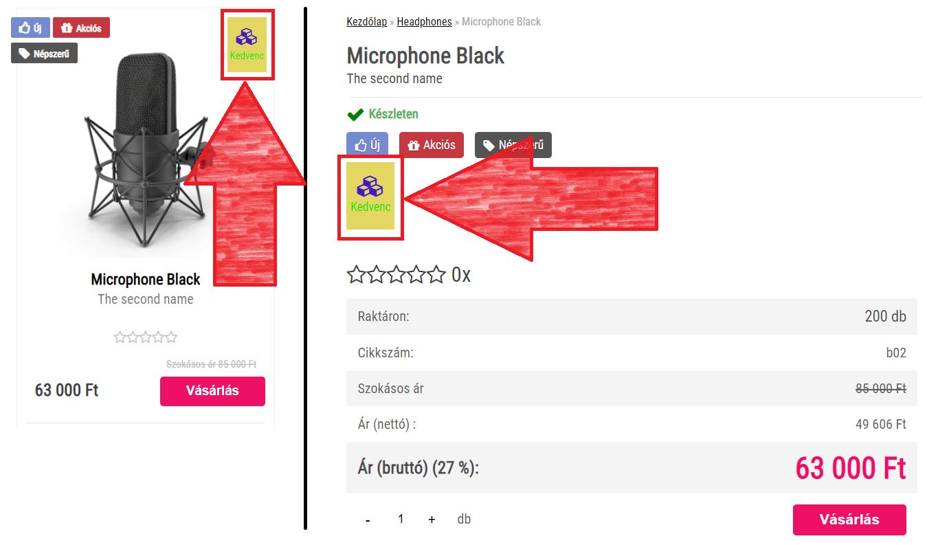 Saját címke megjelenése a webshopban