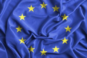 Closeup of ruffled Europe flag