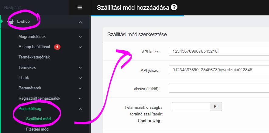 Csomagkuldő API kulcs API jelszó