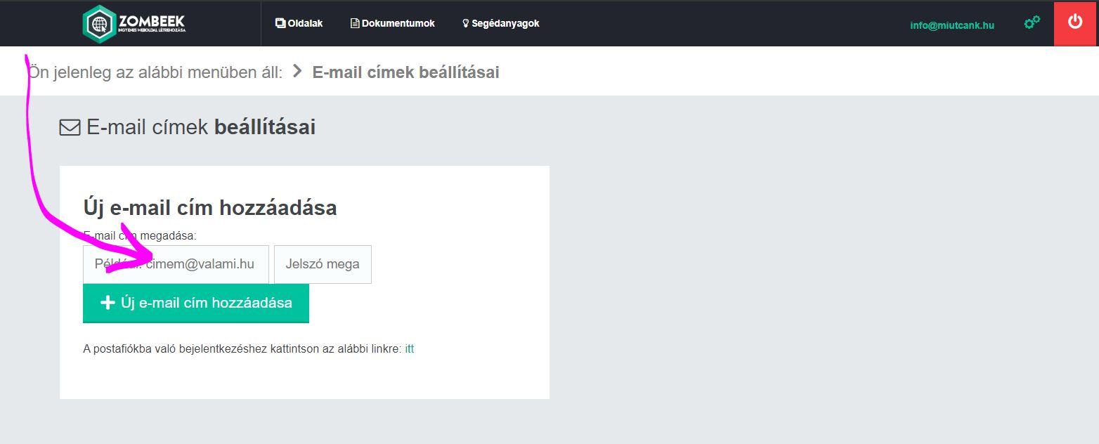 Email cím létrehozása